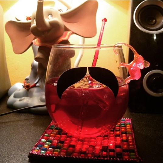 Have a drink or two if you want to, little elephant dude - it's been a long day and you aren't driving! (and yes that is a Dumbo lamp in the background. Because. #Fauxdulthood)